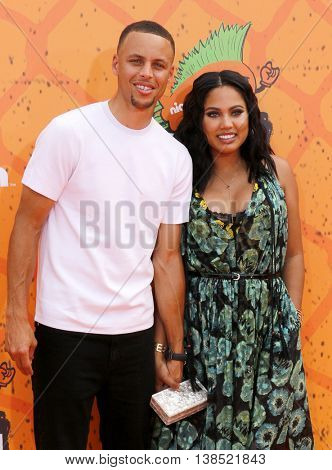 Stephen Curry and Ayesha Curry at the Nickelodeon Kids' Choice Sports Awards 2016 held at the UCLA's Pauley Pavilion in Westwood, USA on July 14, 2016.