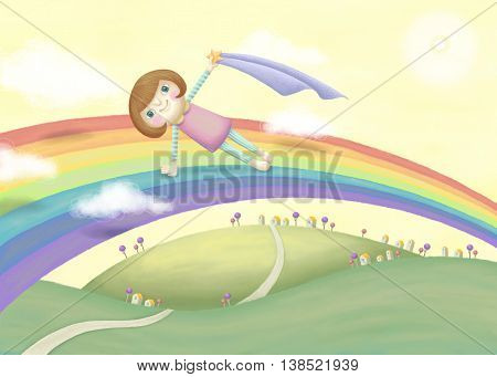Girl doing yoga plank pose on the rainbow. Lovely illustration in hand drawn style