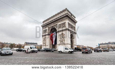 Holiday in France - Triumphal Arch Paris during winter Christmas