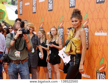 Zendaya Coleman at the Nickelodeon Kids' Choice Sports Awards 2016 held at the UCLA's Pauley Pavilion in Westwood, USA on July 14, 2016.