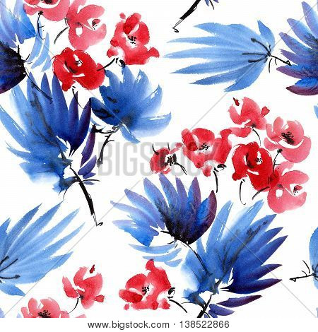 Red flowers and dark blue leaves. Watercolor and ink painting in style gohua sumi-e u-sin. Oriental traditional painting. Seamless pattern.