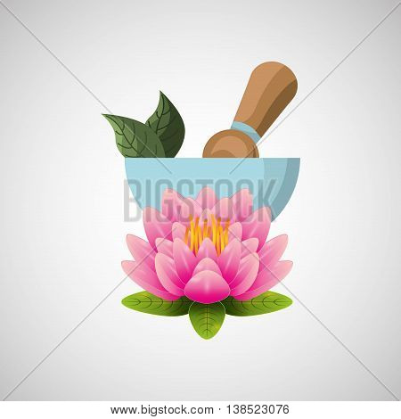 therapy with spa treatment icon, flower and pestal vector illustration