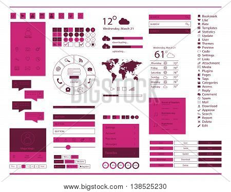 user interface for mobile and web, with ui kit pink color
