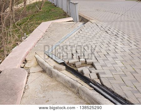 The Destruction Of The Pedestrian Walkway Of Pavers Fixed Concrete Screed, As Well As The Breaking B