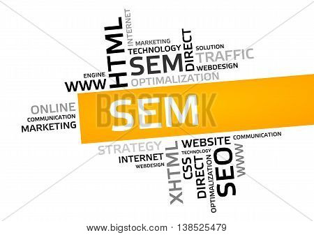 Sem Word Cloud, Tag Cloud, Vector Graphic