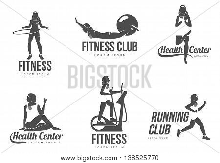 Aerobic logo. Muslim woman fitness, aerobic and workout exercise in gym. Vector set of gym icons in flat style isolated on white background. People in gym.