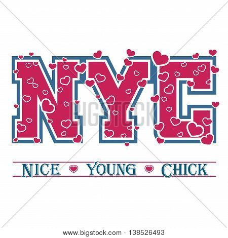 T shirt typography graphic New York. Athletic style NYC. Girl fashion stylish print for sports wear. College team. Cute template for apparel card label poster. Symbol varsity. Vector illustration