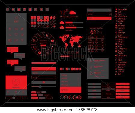 User interface for mobile and web, with ui kits, red color