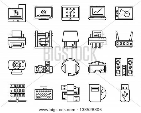 input, output and storage of information. electronic and analog devices. basic set of linear icons, vector poster