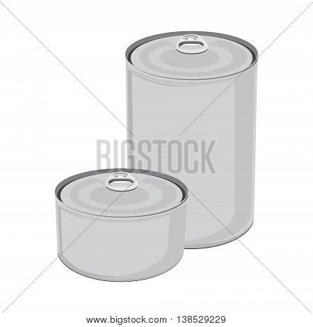 Vector illustration canned food. Tin can with ring pull. Packaging collection. Blank metal tincan