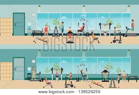 Fitness cardio exercise and equipment with people in fitness gym interior gymnasium sport fitness athletics healthy lifestylecharacter Vector illustration.