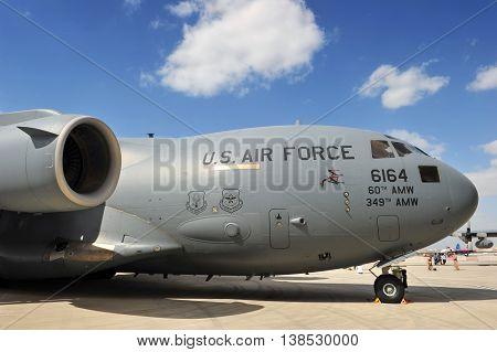 SAKHIR KINGDOM OF BAHRAIN - JANUARY 21: A U.S. Air Force Boeing C-17 Globemaster III T-1 at Sakhir Airbase during the 2nd Bahrain International Airshow 19-21 Jan 2012 in Bahrain.
