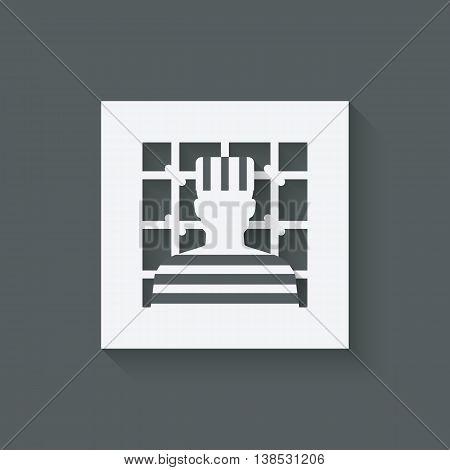 prisoner in jail. justice symbol. vector illustration - eps 10
