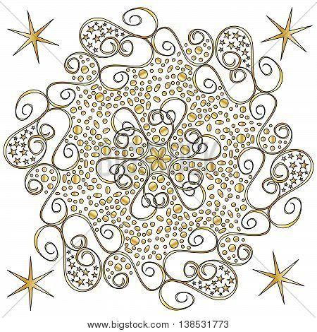 Festive golden Ornament isolated over white background