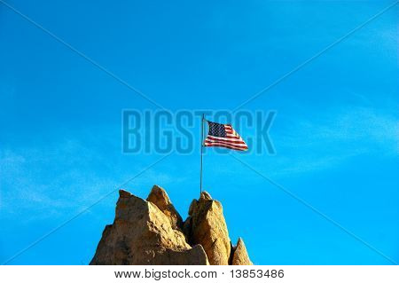 American Flag On Mountain Top