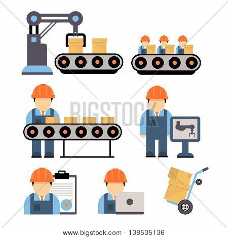 Production process , installation of engineering equipment of industrial production machine operators icons flat line Separate illustration