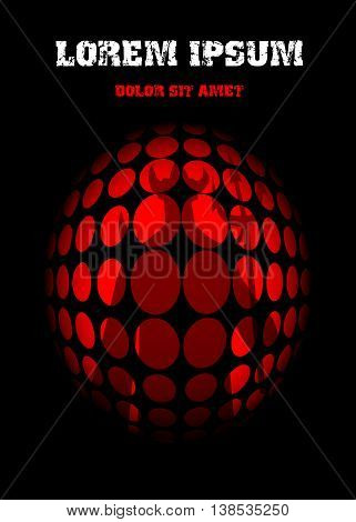 Shadow Demon behind bars on a red background. Vector illustration.