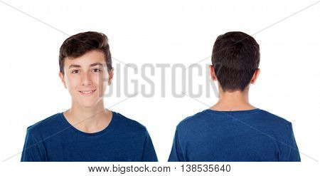 Teenager guy fourteen years with blue t-shirt isolated on white background. On front and back