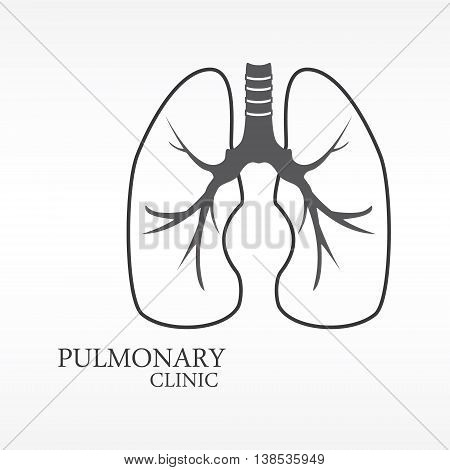 Vector illustration of human lungs. Lungs icon logo for pulmonary clinic