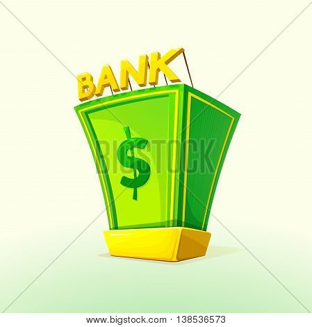 Money Bank concept design with a pile of money and gold bullion symbols of wealth and prosperity, vector illustration
