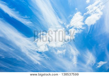 White Cirrus Clouds, Natural Blue Cloudy Sky Photo