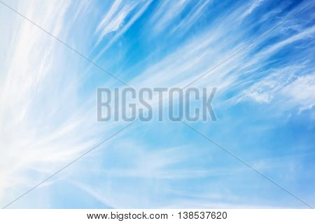 Cirrus Clouds Formation, Blue Cloudy Sky Photo
