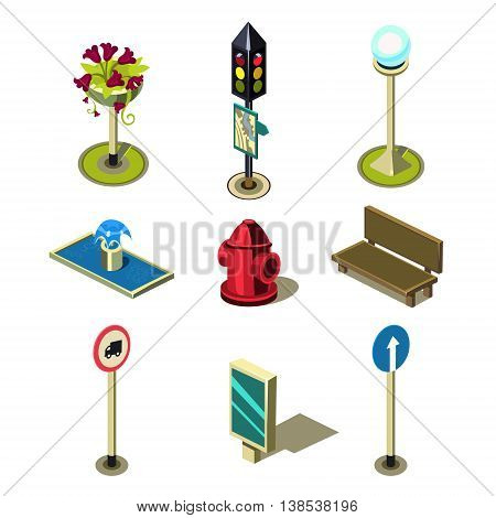 Flat 3d isometric high quality city street urban objects icon set. Traffic light street lights big board citylight bus transport stop road signboard. Build your own world web infographic collection.