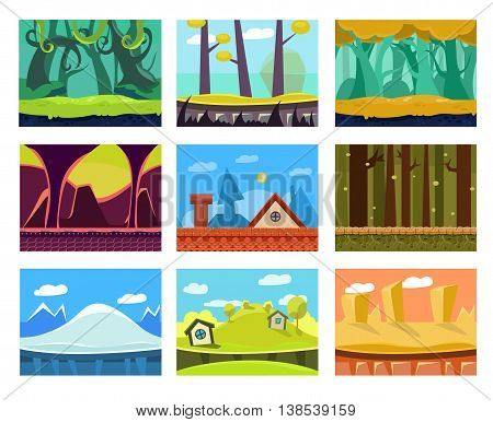 Game background seamless set illustration in modern style for different use poster