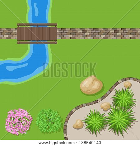Top View Landscape Garden With Stone Path And Wooden Bridge Trees By The River