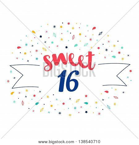 sweet 16 lettering with tag and stars crystals. Vector greeting card. Cute pattern