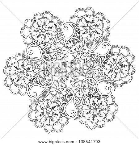 Hand drawn Mendie Mandala. Art Vector illustration