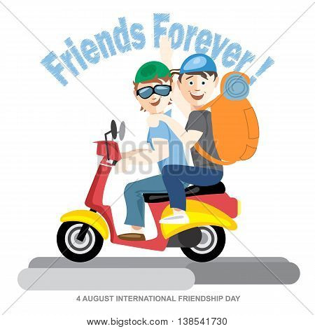 Happy friendship day card. 4 August. Best friends riding a red motorcycle. Digital vector image