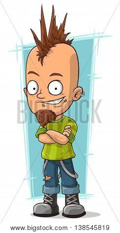 A vector illustration of Cartoon cool punk with mohawk hairstyle