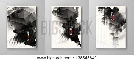 Abstract inkblot background set. Monochrome grunge paint design. Vector illustration.