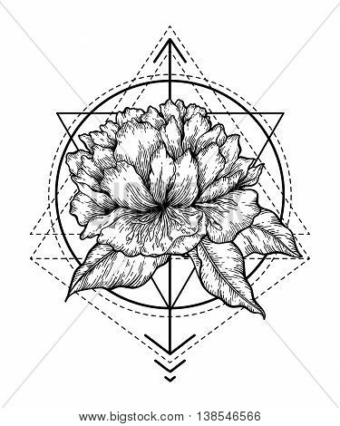 Hand drawn vector isolated illustration of flower and abstract geometry shapes. Magic symbol design for tattoo, print, t-shirt, poster.