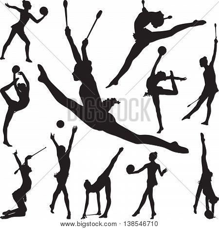 rhythmic gymnastics with ball and cones silhouette vector