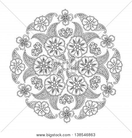 Mendie Mandala with flowers and leaves. Art vector illustration