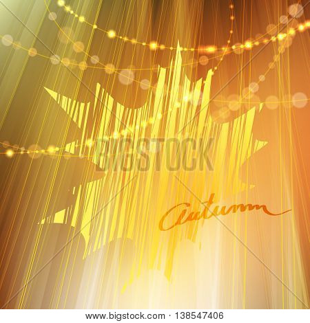 Autumn background with gold leaf and bokeh lights, Fall vector illustration