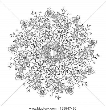 Mendie Mandala with flowers and leaves. Zenart inspired. Can be used for coloring book. Art vector illustration