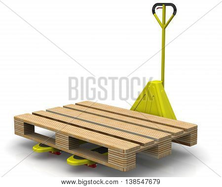 Yellow pallet jack and europallet on a white surface. Isolated. 3D Illustration