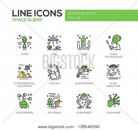 Space Aliens - modern vector line design icons and pictograms set. UFO, technologies, extraterrestial civilization, contact, weapon, alien abduction, species, crash, robot hand