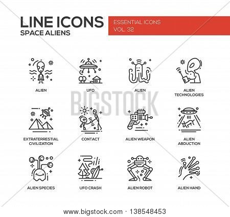 Space Aliens - modern vector plain line design icons and pictograms set. UFO, technologies, extraterrestial civilization, contact, weapon, alien abduction, species, crash, robot hand