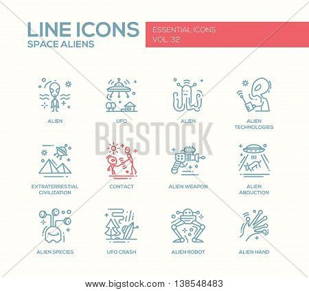 Space Aliens - modern vector simple line design icons and pictograms set. UFO, technologies, extraterrestial civilization, contact, weapon, alien abduction, species, crash, robot hand