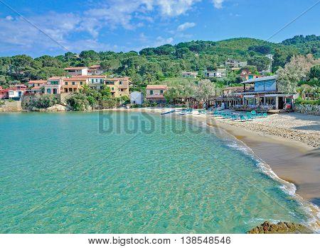 Beach and Village of Scaglieri on Elba Island near Portoferraio,Tuscany,Italy