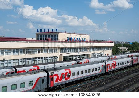 Buzuluk Russia - June 22 2016. View on a Buzuluk railway station - important rail-terminal in Russia