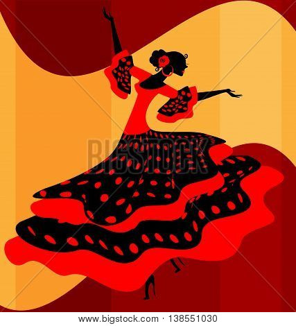 abstract background and Spanish dancer in red-black dress