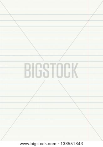 Notebook lined paper - vector image. Blue lined paper with white background.