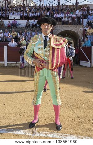 Ubeda Spain - September 29 2010: The spanish bullfighter El Cid at the paseillo or initial parade during a bullfight in the Bullring of Ubeda Spain