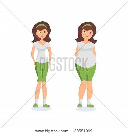 Girl with fat forms abdomen and athletic girl. Vector colorful illustration in flat style.