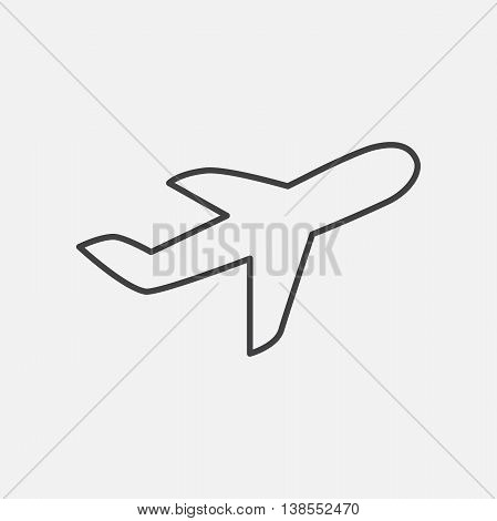 Airplane. Line Icon Vector. Airline Sign isolated on white background. Flat design style.